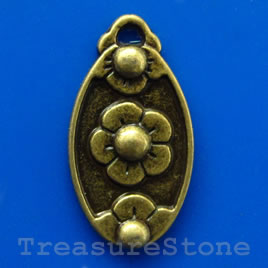 Pendant/charm, brass-finished, 12x19mm. Pkg of 6.