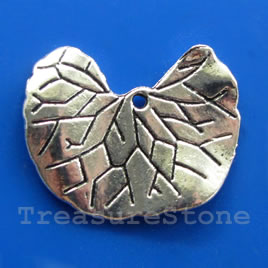 Pendant/charm, silver-finished, 22x26mm leaf. Pkg of 4.
