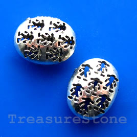 Bead, silver-finished, 18x22x12mm filigree oval. Pkg of 3.