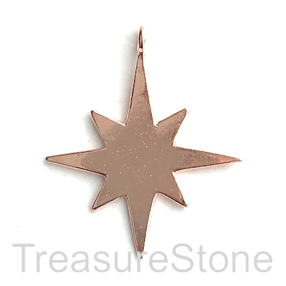 Pendant, rose gold coloured, 35mm star. Pkg of 5.