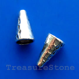 Cone, antiqued silver-finished, 8x14mm. Pkg of 8.