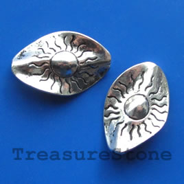Bead/focal, antiqued silver-finished, 20x30mm. Pkg of 2.