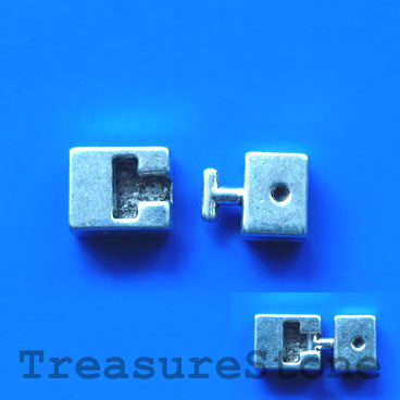 Clasp, silver-colored, 9x19mm. Pkg of 6 sets.