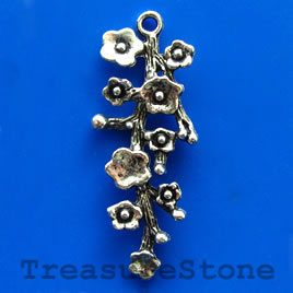 Pendant/charm, silver-finished, 16x40mm. Pkg of 4.