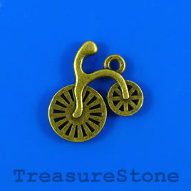 Charm/pendant, brass-plated, 18mm bicycle. Pkg of 6.