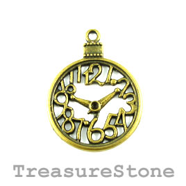 Pendant, brass-finished, 30mm watch face/watch face. Pkg of 2.