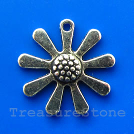 Pendant/charm, silver-finished, 22mm flower. Pkg of 5.
