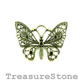 Pendant, brass-finished, 48x37mm filigree betterfly. Pkg of 3.