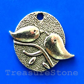 Pendant/charm, silver-finished, 25x28mm bird. Pkg of 3.