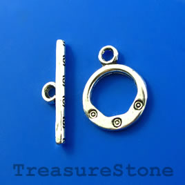 Clasp, toggle, antiqued silver-finished, 13mm/21mm. Pkg of 10