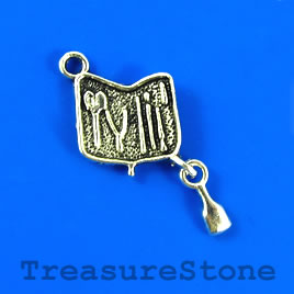 Charm/pendant, silver-plated, 14mm tool box. Pkg of 8.