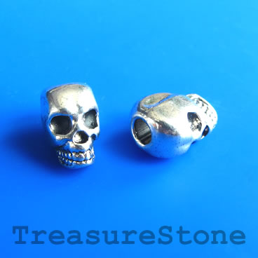 Bead, silver-finished, large hole, 8x12mm skull. Pkg of 8.