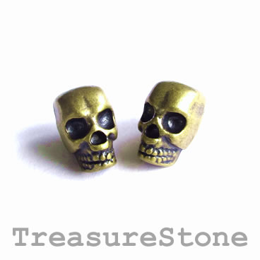 Bead, brass-finished, large hole, 8x12mm skull. Pkg of 8.