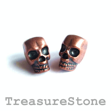 Bead, copper-finished, large hole, 8x12mm skull. Pkg of 8.