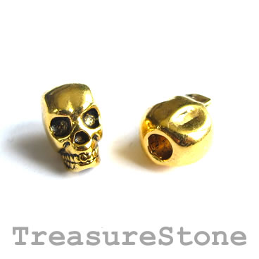 Bead, gold-finished, large hole, 8x12mm skull. Pkg of 8.