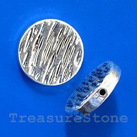 Bead, silver-finished, 23x4mm flat round. Pkg of 2.