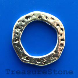 Bead, antiqued silver-finished, 30mm circle. Pkg of 3.
