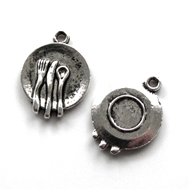 Pendant/charm, silver-finished, 15mm plate, utensil. Pkg of 12.