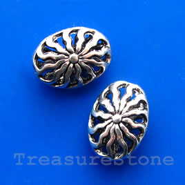 Bead, antiqued silver-finish, filigree oval, 12x18x8mm. Pkg of 3