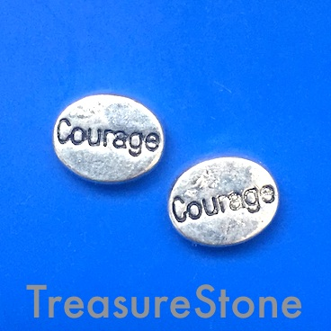 "Bead, antiqued Silver Finished, 8x11mm, ""Courage"". Pkg of 12."