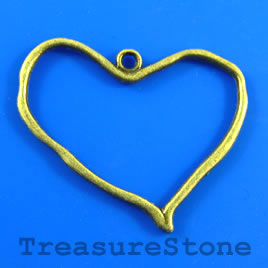 Pendant, brass-finished, 37x30mm heart. Pkg of 4.