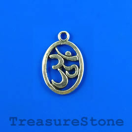 Charm/pendant, silver-plated, 14x19mm Aum symbol. Pkg of 5.