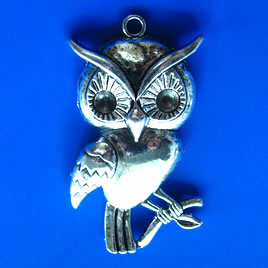 Pendant/charm, silver-finished, 35x47mm owl. Sold individually.