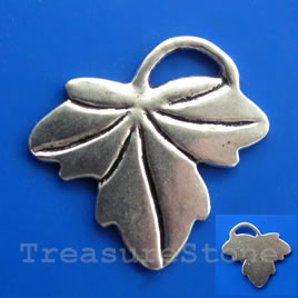 Pendant/charm, silver-finished, 25x29mm leaf. Pkg of 5.