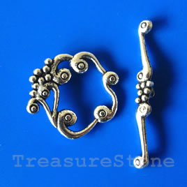 Clasp, toggle, antiqued silver-finished, 24x26mm. Pkg of 4.