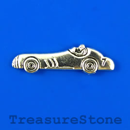 Charm/pendant, silver-plated, 9x29mm sports car. Pkg of 9.