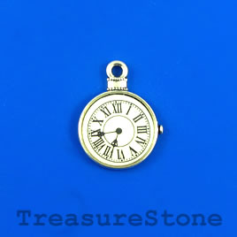 Charm/Pendant, silver-plated, 13mm watch face. Pkg of 3.