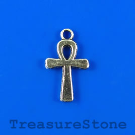 Charm/pendant, silver-plated, 13x19mm ankh. Pkg of 6.