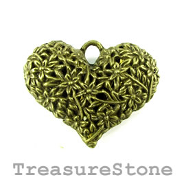 Pendant, brass-finished, 40x33mm filigree heart. Pkg of 2.