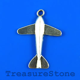 Charm/pendant, silver-plated, 25x30mm air plane. Pkg of 6.