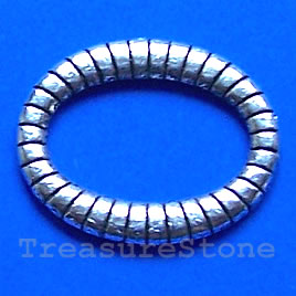 Bead, silver-finished, 19x23mm oval circle. Pkg of 15.