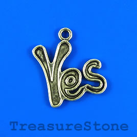 "Pendant/charm, 20x22mm ""Yes"". Pkg of 4."
