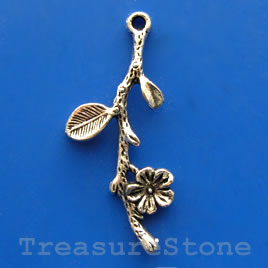 Pendant/charm, silver-finished,20x37mm branch. Pkg of 6.