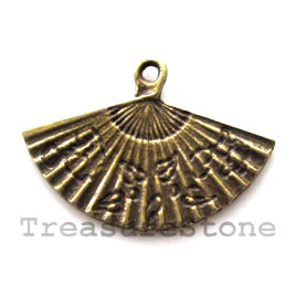 Pendant/charm, brass-finished, 13x25mm paper fan. Pkg of 8.