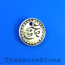 Charm/Pendant, silver-plated, 15mm Yoga Ohm/om/Aum. Pkg of 8