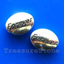 Bead,antiqued silver-finished,11x15mm Forever. pkg of 6.