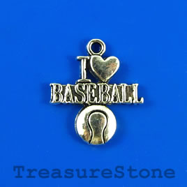 "Charm/pendant, silver-plated, 17mm""I love BASEBALL"". Pkg of 4."