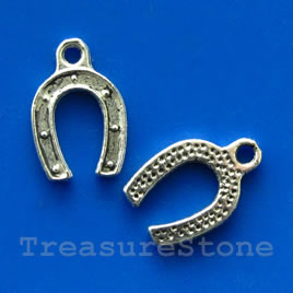 Pendant/charm,12x15mm horseshoe. Pkg of 15.
