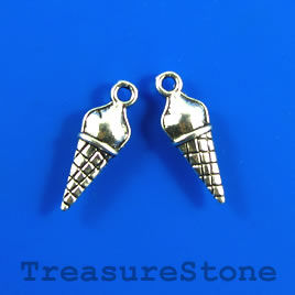 Charm, silver-plated, 8x17mm ice cream cone. Pkg of 12