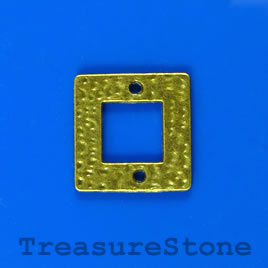 Link/charm, brass-finished, 18mm square. Pkg of 5