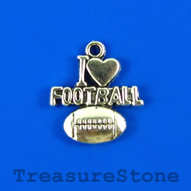 Charm/pendant, silver-plated, 18mm (I love FOOTBALL). Pkg of 4