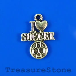 Charm/pendant, silver-plated, 16x18mm (I love SOCCER). Pkg of 5.