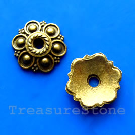 Bead cap, antiqued brass finished, 13mm. Pkg of 16.