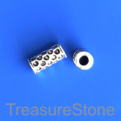Bead, antiqued silver-finished, 8x15mm tube. Pkg of 11.