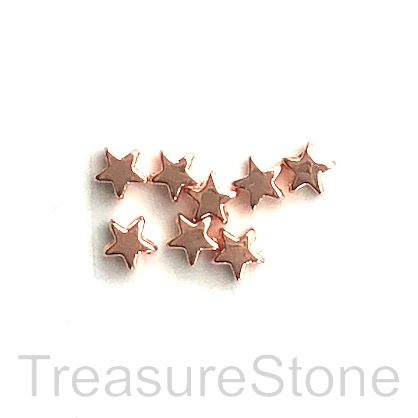 Bead, rose gold finished, 5mm star. Pkg of 20