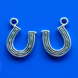 Pendant/charm, silver-finished, 12mm horseshoe. Pkg of 12.